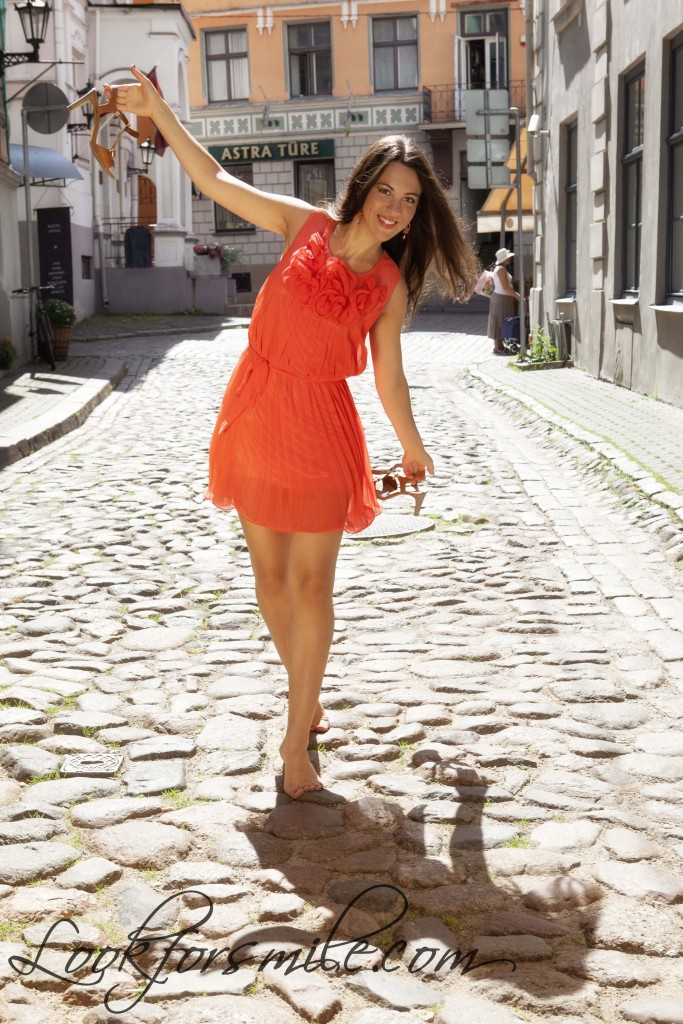 Riga old town, orange dress - look for smile