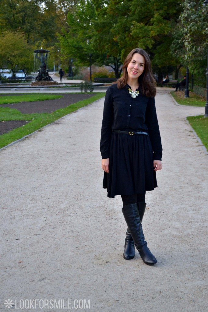 black skirt, blouse, boots - blog - Lookforsmile.com