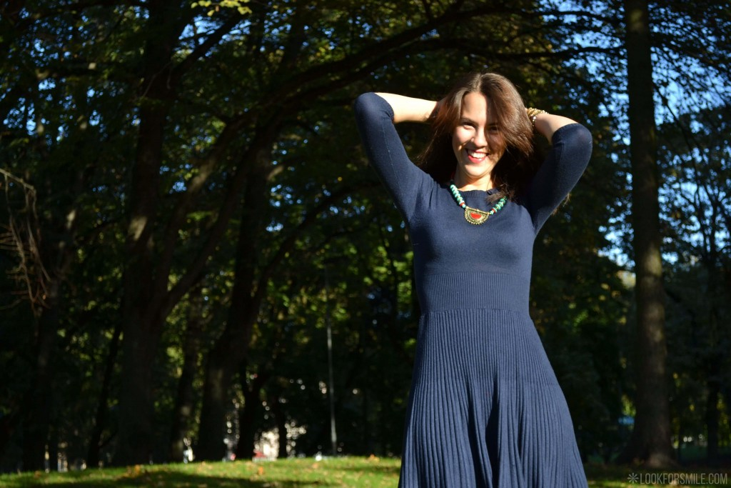Blue knitted dress - blog - Lookforsmile.com