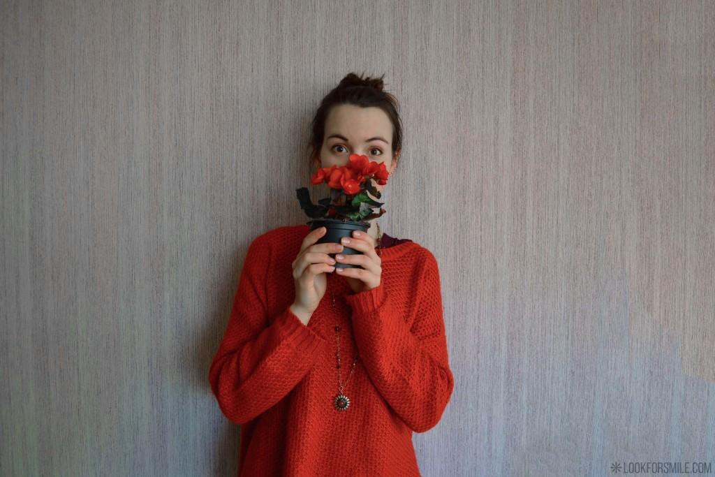 Sarkans džemperis mode - blogs - Lookforsmile.com