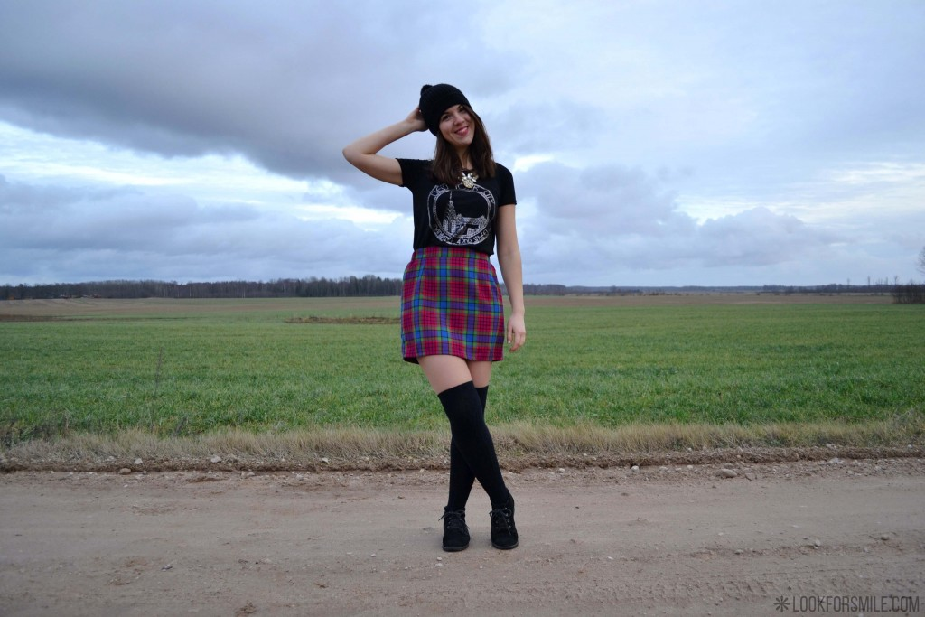 Outfit, checked skirt - blog - Lookforsmile.com